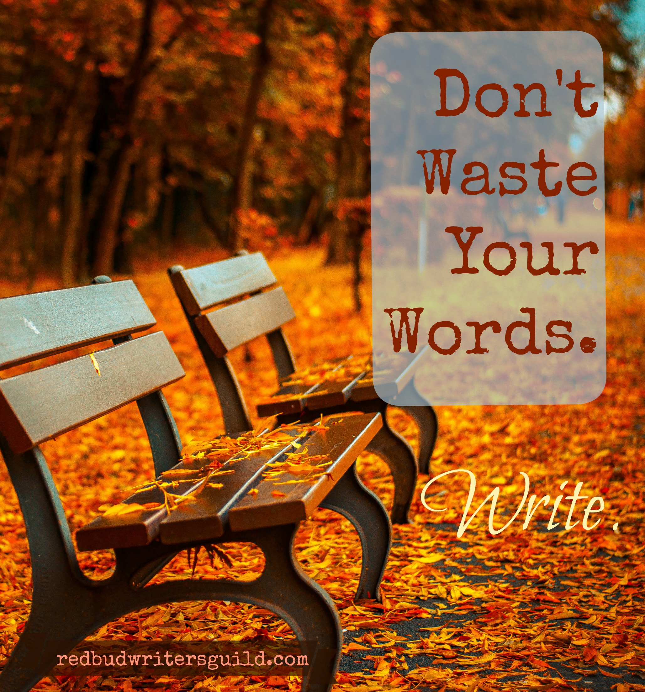 Don't waste your words. Write
